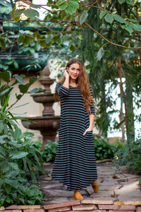 Jessi Dress Black & White Stripe Ribbed