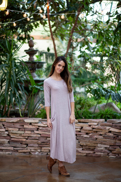 Jessi Dress Gray and Pink Stripe Ribbed