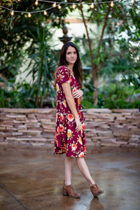 April Dress Maroon Floral