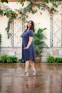 April Dress Navy Stripe Ribbed