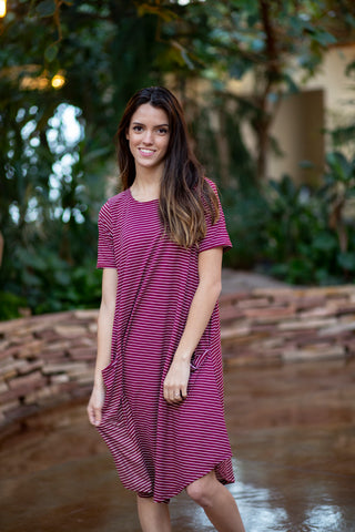 April Dress Maroon Stripe