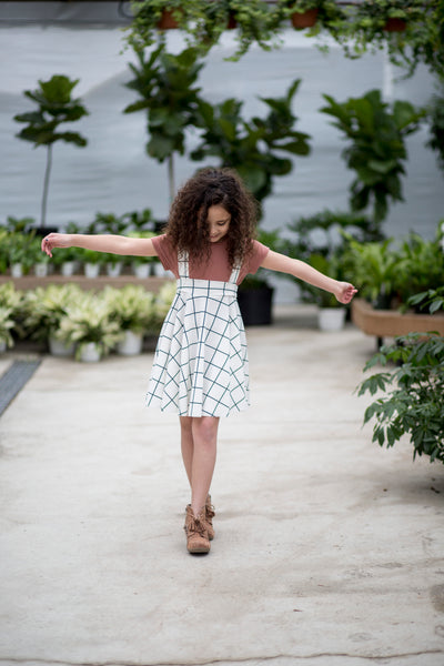 Afton Skirt White Plaid