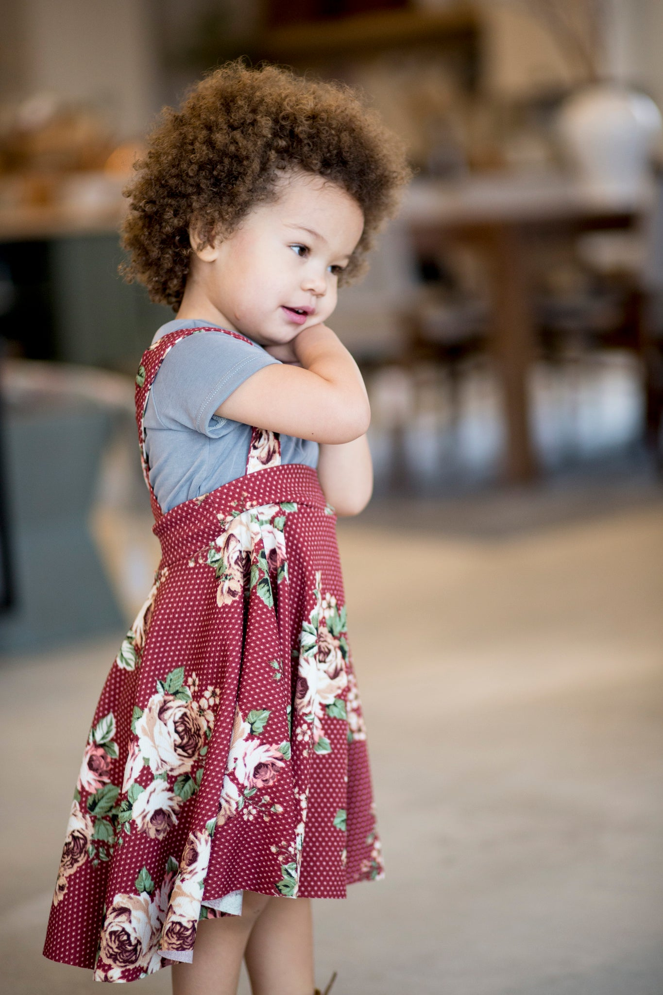 Afton Skirt Maroon Floral