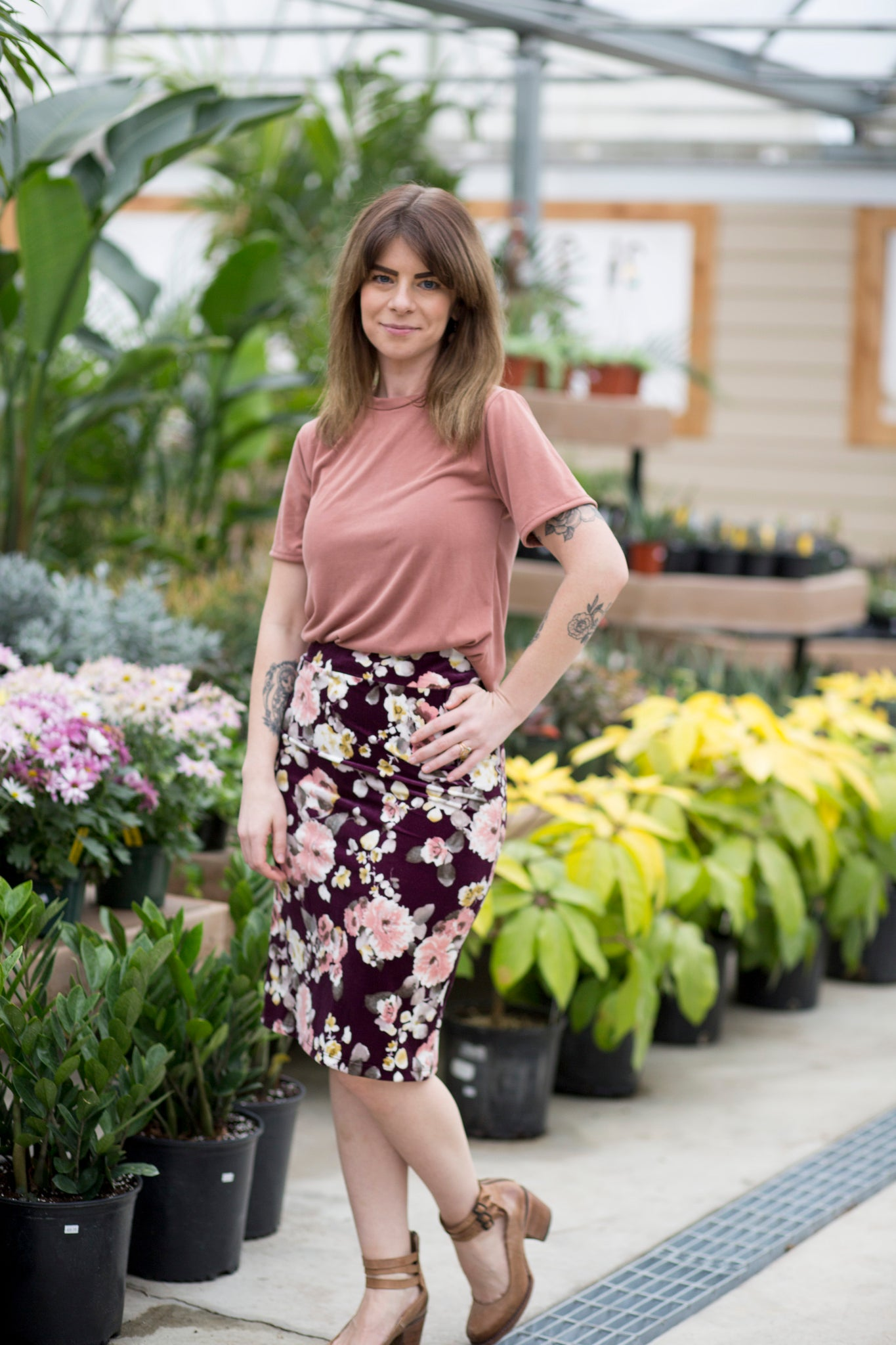 Pencil Skirt Plum Velvet Floral
