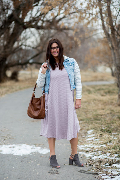 Lavender Stripe April Dress