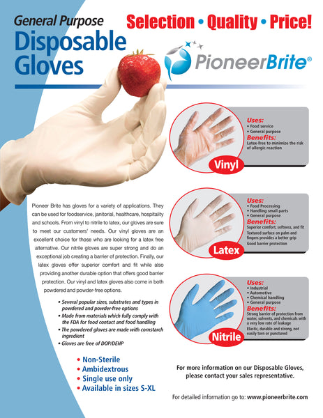 full line of gloves sold by pioneer brite of memphis, tn