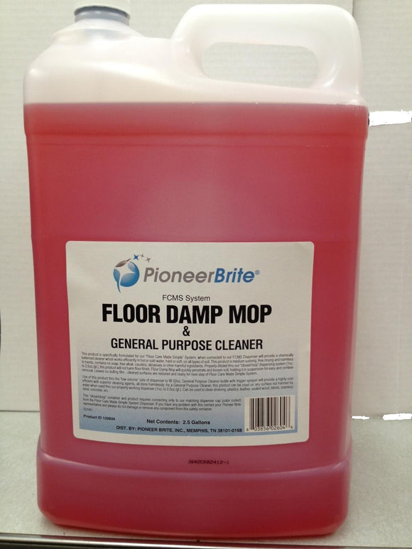 102604 - PIONEER BRITE Floor Damp Mop & General Purpose Cleaner, 2x2.5 gl., (other sizes avail.)