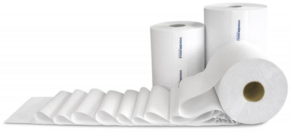 205066 - White (bleached) hardwood towel (non perf) 600 roll 12 pack case
