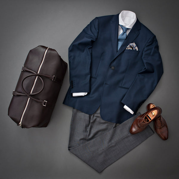 Outfit with Full Grain Aniline Leather Duffle Bag.