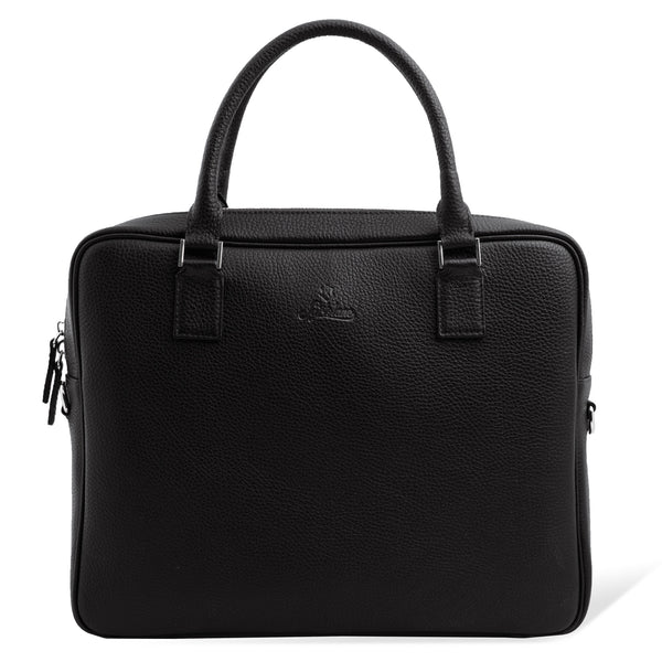 Full Grain Leather Laptop Briefcase for Men. Black Colour.