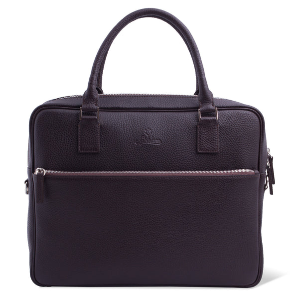 Full Grain Leather Laptop Briefcase for Men with External Pocket. Brown Colour.