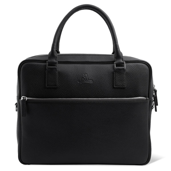 Full Grain Leather Laptop Briefcase for Men with External Pocket. Black Colour.