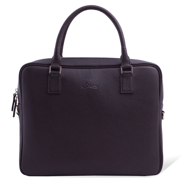 Full Grain Leather Laptop Briefcase for Men. Brown Colour.