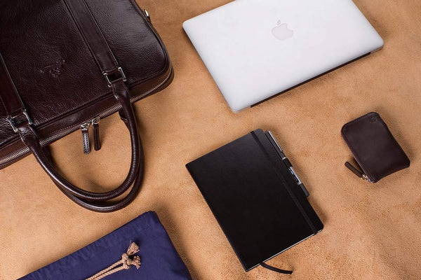 Accessories That Fits In Elegant Leather Briefcase Made From Vegetable Tanned Leather.