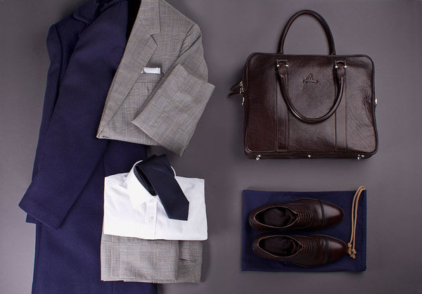 Outfit for Elegant Men with Full Grain Vegetable Tanned Leather Laptop Briefcase for Men.
