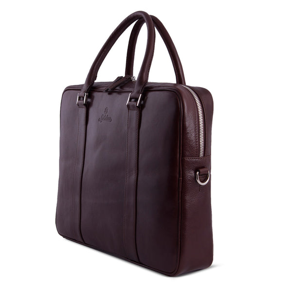 Elegant Leather Briefcase For Men Made From Vegetable Tanned Leather. Sideway.