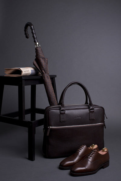 Shoes, Umbrella and Full Grain Leather Laptop Briefcase for Men with External Pocket.