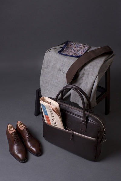 Outfit With Elegant Leather Briefcase For Men With External Pocket.