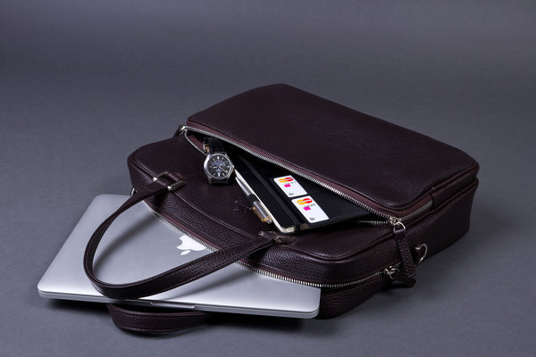 Stuff That Fits in Full Grain Leather Laptop Briefcase for Men with Large External Pocket.