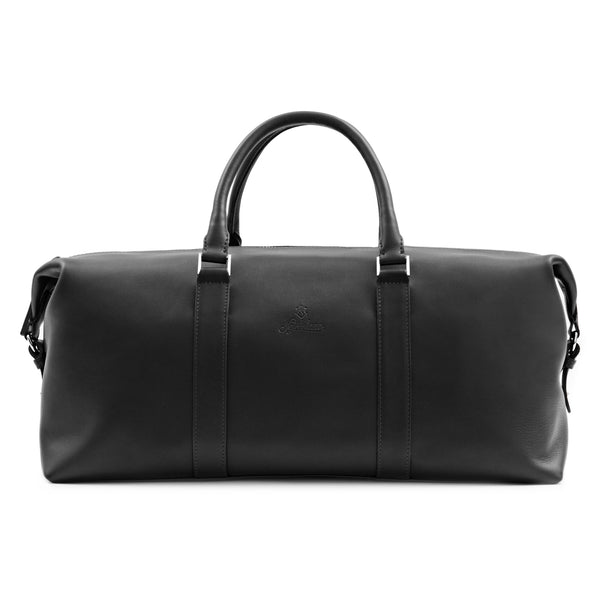 Full Grain Aniline Leather Duffle Bag For Men. Black Colour.