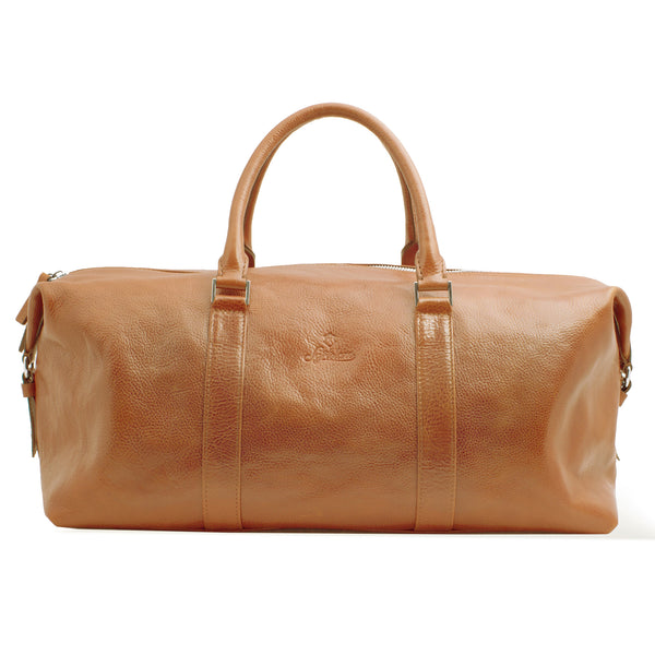 Full Grain Vegetable Tanned Leather Duffle Bag for Men. Light Brown Colour.
