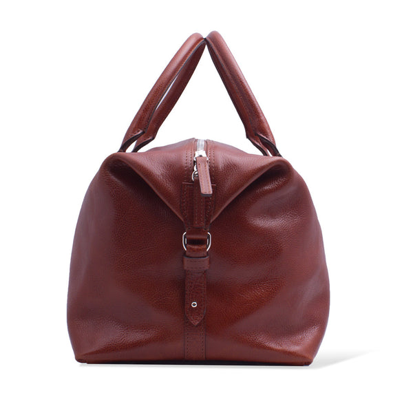 Full Grain Vegetable Tanned Leather Duffle Bag for Men. Cognac Colour.