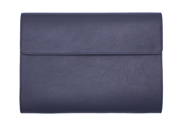 Elegant Leather Portfolio for Men Made From Full-Grain Leather. Navy Colour.