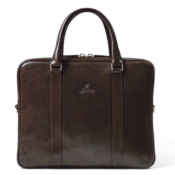 Full Grain Vegetable Tanned Leather Laptop Briefcase for Men.
