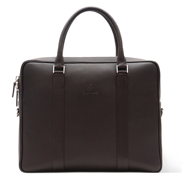Custom Full Grain Aniline Leather Laptop Briefcase for Men. Brown Colour.