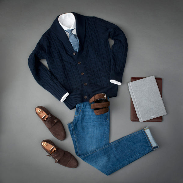 Outfit with Brown Suede Belt for Men