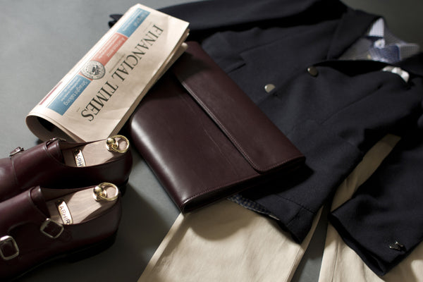 Outfit For Elegant Man With Leather Portfolio Made From Full-Grain Leather.