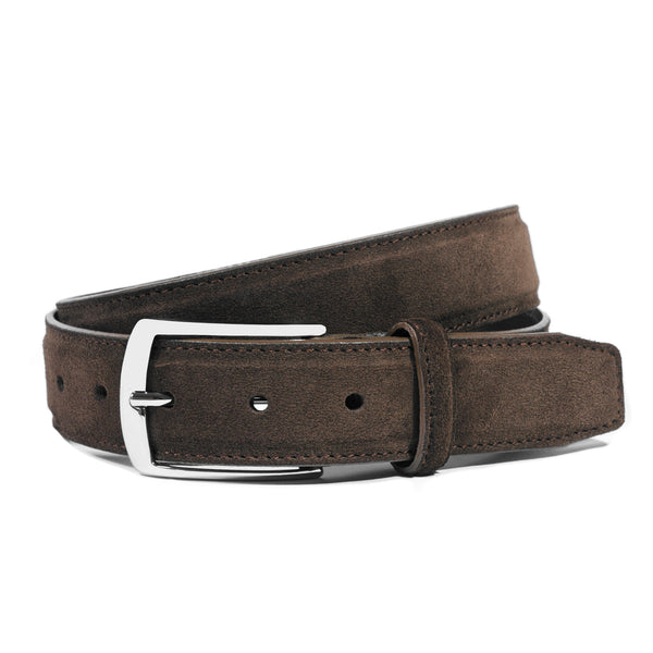 Dark Brown Suede Belt for Men