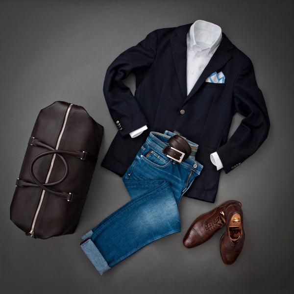 Set with Full Grain Leather Belt for Men and Weekender Bag