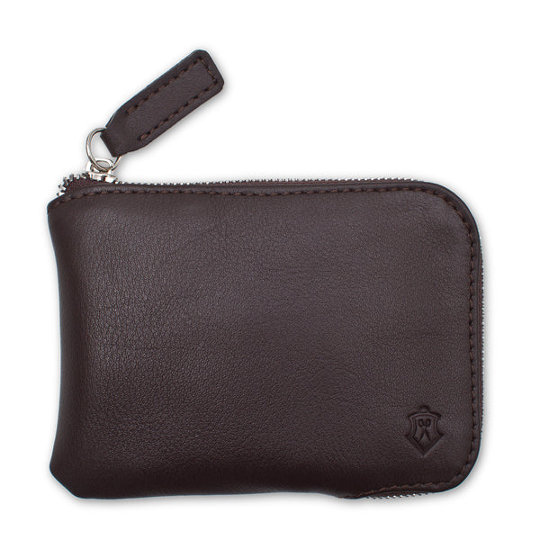 Brown Small Wallet Made From Full-Grain Aniline Leather.