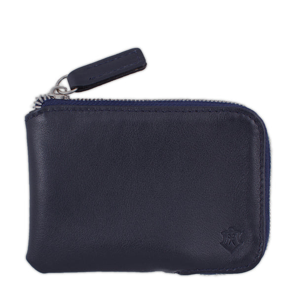 Navy Small Wallet Made From Full-Grain Aniline Leather.