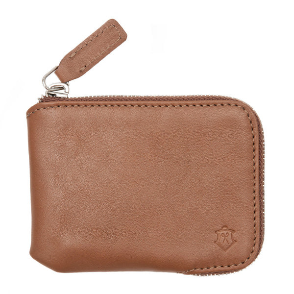 Light Brown Small Wallet Made From Full-Grain Aniline Leather.