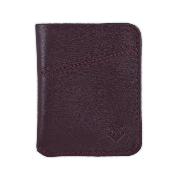 Slim Maroon Full Grain Leather Card Wallet for Men