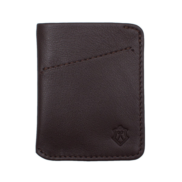 Brown Card Wallet Made From Full-Grain Aniline Leather.