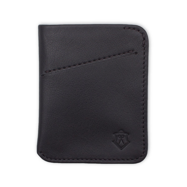 Slim Black Full Grain Leather Card Wallet for Men