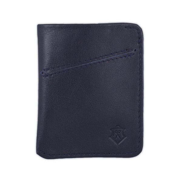 Slim Navy Full Grain Leather Card Wallet for Men