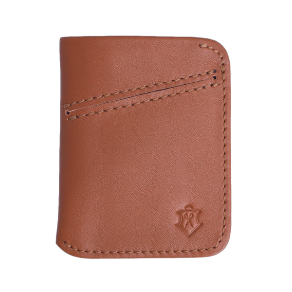 Light Brown Card Wallet Made From Full-Grain Aniline Leather.