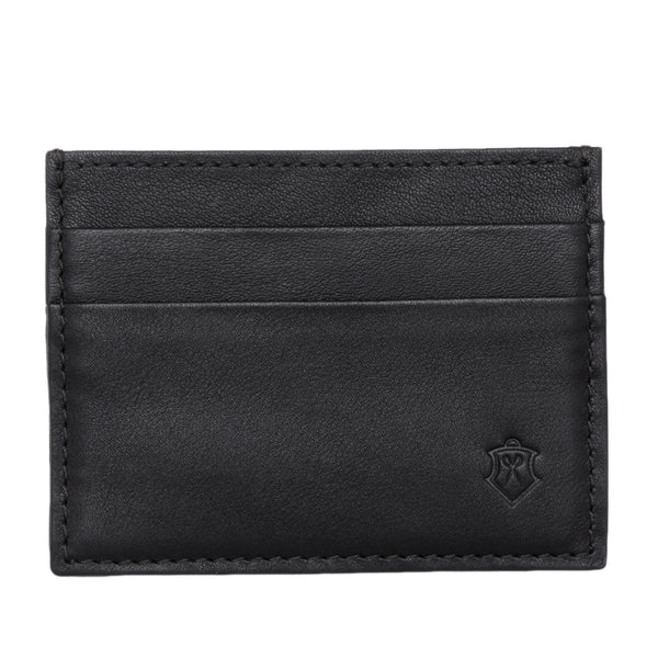 Slim Black Full Grain Leather Credit Card Holder for Men