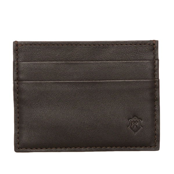 Slim Brown Full Grain Leather Credit Card Holder for Men
