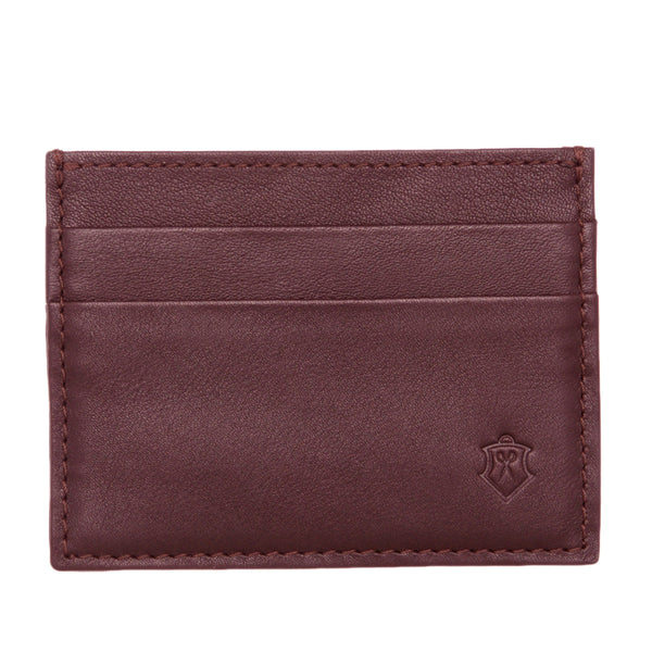 Slim Maroon Full Grain Leather Credit Card Holder for Men