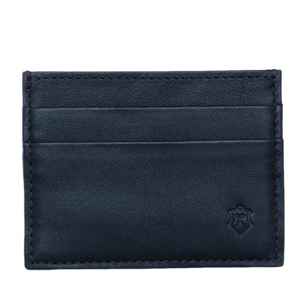 Slim Navy Full Grain Leather Credit Card Holder for Men