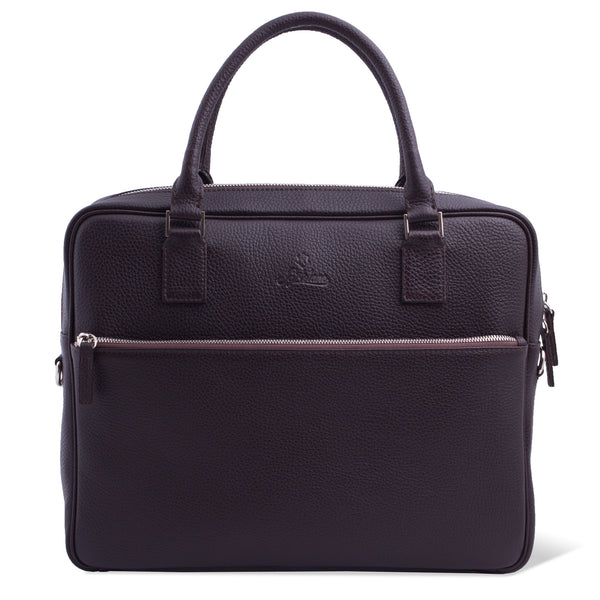 Custom Full Grain Leather Laptop Briefcase for Men. Brown Colour.