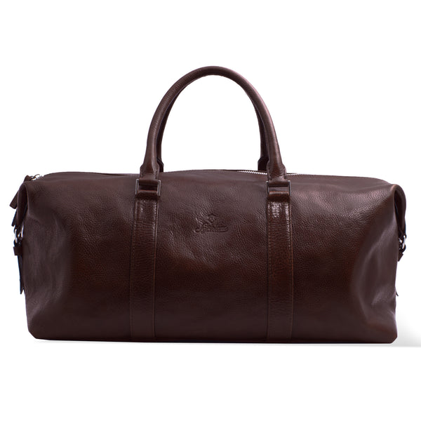 Custom Full Grain Vegetable Tanned Leather Weekender Bag For Men. Brown Colour.