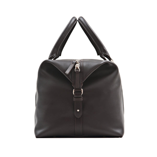 Elegant Leather Weekender Bag For Men. Brown Full-Grain Aniline Leather. Sideway.