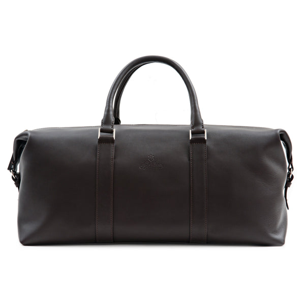 Elegant Leather Weekender Bag For Men. Brown Full-Grain Aniline Leather.