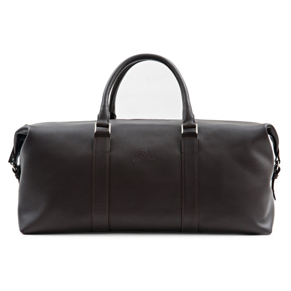 Custom Full Grain Aniline Leather Weekender Bag For Men. Brown Colour.